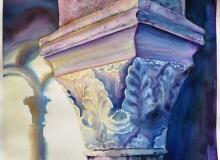 Warsztaty artystyczne: ALEKSANDRA STOMPOR Detal architektoniczny - kapitel, akwarela