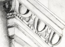 Warsztaty artystyczne: ALEKSANDRA WOJTOWICZ Kapitel pilastra zdobiony kimationem jońskim, ołówe