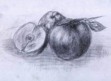 Warsztaty artystyczne: ANONIM, jabłka, ołówek, papier