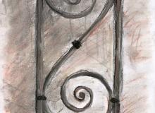 Warsztaty artystyczne: Katarzyna Leligdowicz Esownica w balustradzie schodów w 2LO, suchy pastel