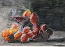 Warsztaty artystyczne: Kasia Pietrewicz Winogrona, pastel olejny