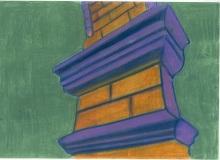 Warsztaty artystyczne: Gabriela Królikowska Fragment pilastra z gzymsami, 2LO, pastel