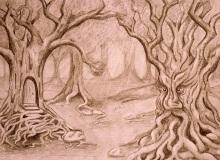 Alicja Nowicka Magiczne Drzewa, ołówek, papier